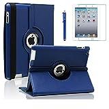 iPad 2 Case, iPad 3 Case, iPad 4 Case, AiSMei Rotating Stand Case Cover with Wake Up/Sleep For Apple iPad 2, iPad 3, iPad 4 [ 9.7-Inch iPad Released before 2013 ] [Bonus Film+Stylus] Navy Blue