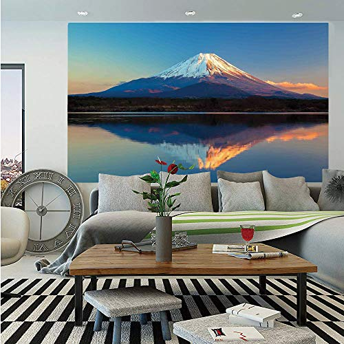 The Far East Nature Decor Wall Mural,Mount Fuji and Lake Shoji Picture Clear Sky Sunset Photo Print,Self-Adhesive Large Wallpaper for Home Decor 83x120 inches,