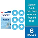 Nexcare Sensitive Skin Tape SIOC, Pain-Free Removal, Hypoallergenic, 1-inch X 4 Yard Roll (Pack of 6)