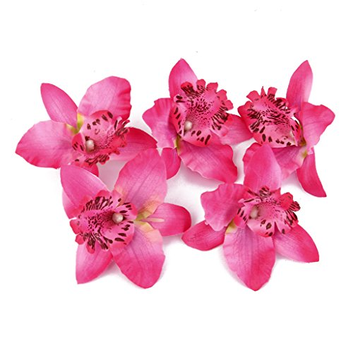 Red Dendrobium Orchid (20pcs 8cm Artificial Silk Orchid Dendrobium Flower Heads Decor -Rose red)
