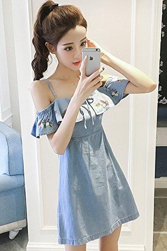 961093d6804 On summer new Korean version was thin waist strapless denim dress  temperament harness collar denim skirt