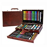 NEWELLYY 123-Piece Art Set,Painting & Drawing Set, Draw Stencils 6-12old Kids, for Boys & Girls Wooden Stationery Color Lead Brush