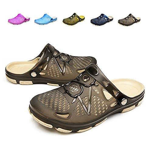 Techcity Unisex Garden Clogs Outdoor Walking Sandals Breathable Sport Slides Summer Non Slip Pool Beach Shower Slippers Shoes (US 10-10.5, Black) by Techcity