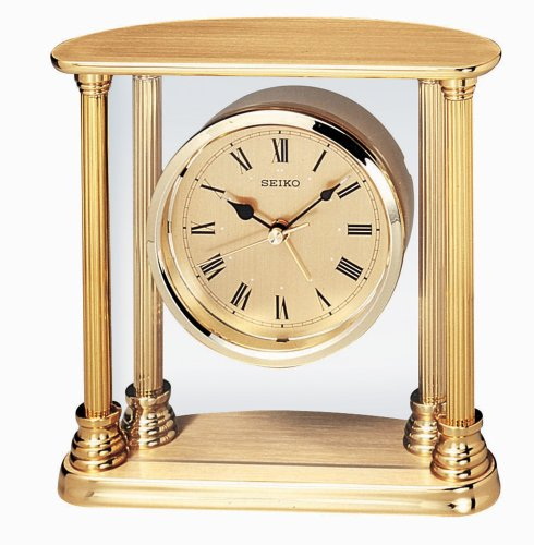 Seiko Desk and Table Alarm Clock Gold-Tone Solid Brass Case ()