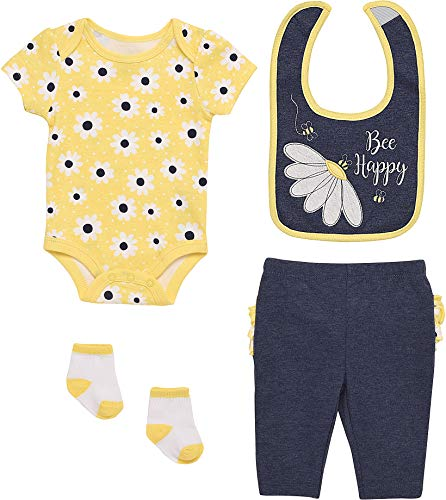 Mini B. by Baby Starters 4-Piece Layette Set with a Lap Shoulder Bodysuit, Pull-on Pants with Rumba Ruffles, 2 ply Cloth Bib and Coordinating Pair of Socks (Chambray/Yellow, Bee Happy, 0-3M)