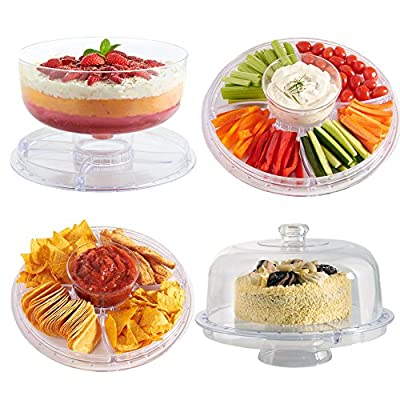 VonShef 6 in 1 Multi-Function 12-Inch Cake Stand/Dome, Chip Platter, Punch Bowl, Salad Bowl, Punch Bowl