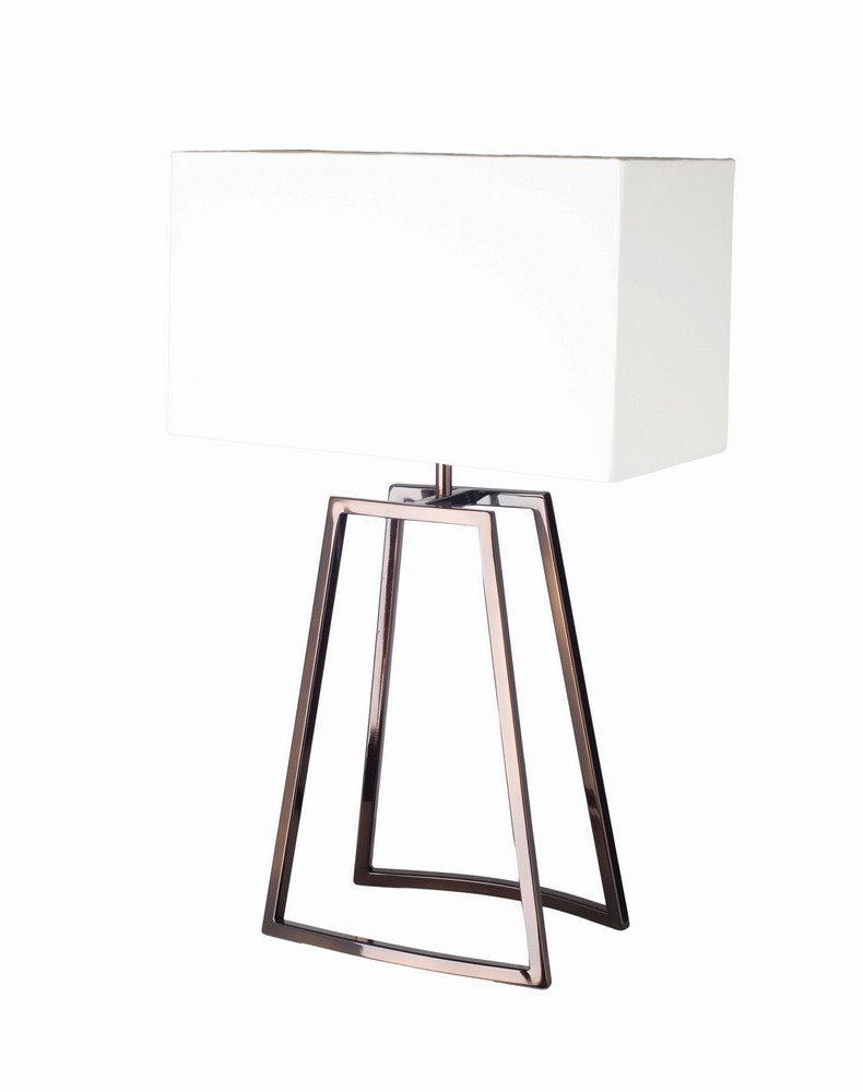 Renwil Inc LPT554 Duet - One Light Medium Table Lamp, Glossy Espresso Finish with Off White Shade