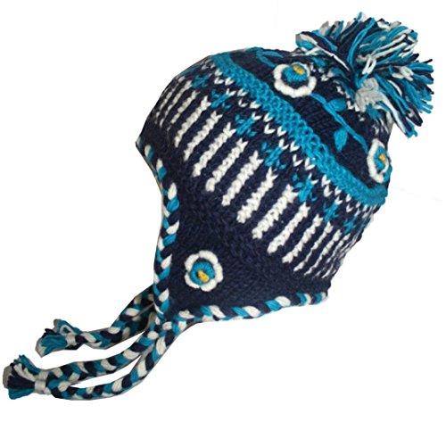 Agan Traders 1405 H Kakicha Earflap Wool Fleece Knit Beanie Hat [Blue] (Wool Beanie Earflap)