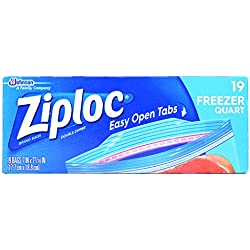 Ziploc Freezer Bags, Quart, 19 ct