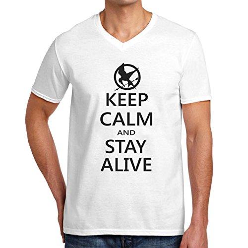 Keep Calm And Stay Alive Hunger Games Herren V-Neck