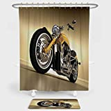 Motorcycle Shower Curtain And Floor Mat Combination Set Iron Custom Aesthetic Hobby Motorbike Futuristic Modern Mirrors Riding Theme For decoration and daily use Yellow Silver