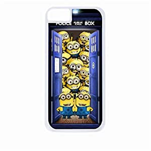 Tardis with Minions - Despicable me - Dr. Who - Hard White Plastic Snap - On Case-Apple Iphone 6 Only - Great Quality!