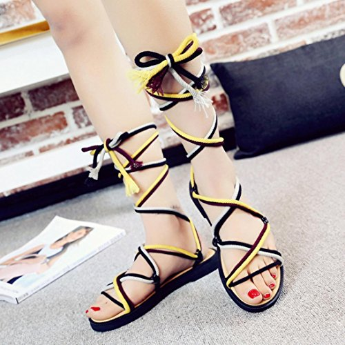 Ladies Summer Fashion Shoes Flat Gladiator Bandage Peep Womens Sandals Girls Summer Toe Bohemia Yellow Cross tied Sandals Beach Clode® qtWTxZf