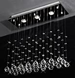 Cheap Siljoy Rectangular Raindrop Crystal Chandelier Modern Dining Room Light Fixtures W24″ X H24″