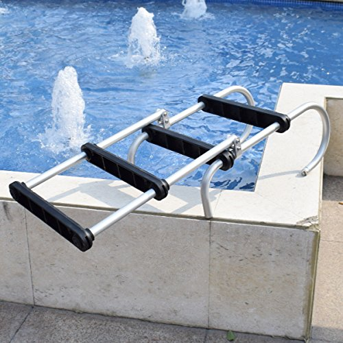 glorious_nx Folding Pontoon Boat Ladder Heavy Duty 4 Step Removable Boarding Ladder New-Made