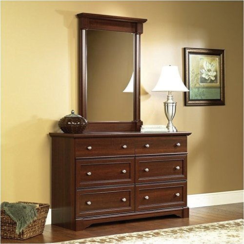Drawer Ten Dresser Cherry - Sauder Palladia Six Drawer Dresser and Mirror Set in Select Cherry Finish