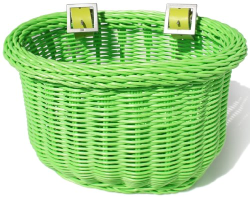 Colorbasket 01235 Front Handle Bar Kids Bike Basket, Water Resistant, Leather Straps, Green