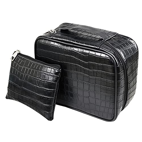 Makeup Bag Set, 2PCS Cosmetic Bag for Women, Travel Portable Make up Bags, Large Cosmetic Bag and Small Makeup Bag, Waterproof PU Leather Cosmetic Bags, Reusable Toiletry Bags for Women and Girls