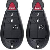 ECCPP 2X Replacement New Uncut 4 Button Automotive Keyless Entry Remote Key Control Transmitter Combo Fit for 08-12 Dodge Challenger Charger Caravan|08-10 Dodge Ram 1500 2500 3500 4500|Chrysler