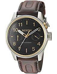 Nixon Mens Safari Deluxe Leather Quartz Stainless Steel Watch, Color:Brown (Model: A977019)