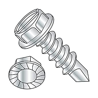 3//4 Length Pack of 100 #2 Drill Point 3//4 Length Zinc Plated Finish Pack of 100 Small Parts 101231KWS Steel Self-Drilling Screw Hex Drive #10-16 Thread Size Serrated Hex Washer Head