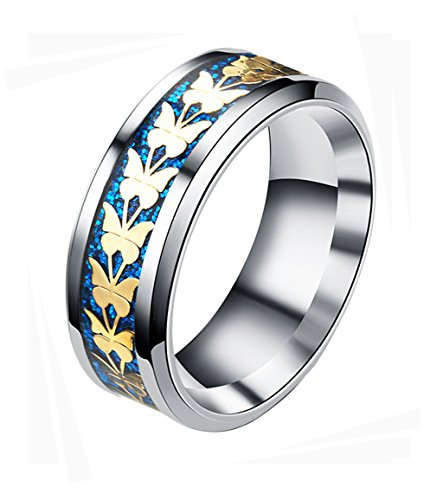 Butterfly Inlay (Tanyoyo Men Women Stainless Steel Rings Gold Tone Butterfly Pattern Blue Inlay Beveled Edge Size 6 -13 (10))