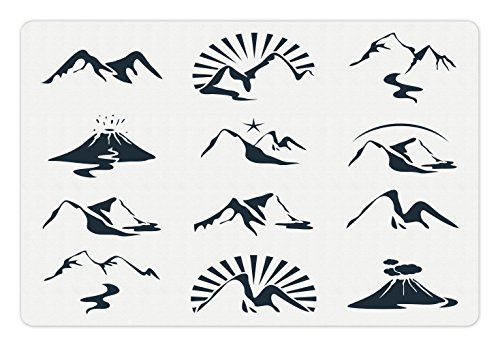 Blue and White Pet Mats for Food and Water by Ambesonne, A Collection of Mountain Silhouettes Volcano River and Clouds Cartoon, Rectangle Non-Slip Rubber Mat for Dogs and Cats, Dark Blue White (River Silhouette)
