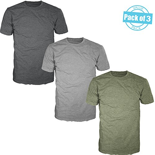 FSD Basic Plain Crew Neck Heather T-Shirts For Men (Value Pack o f 3) (Multicolor (B) Pack, - T-shirt Value Plain