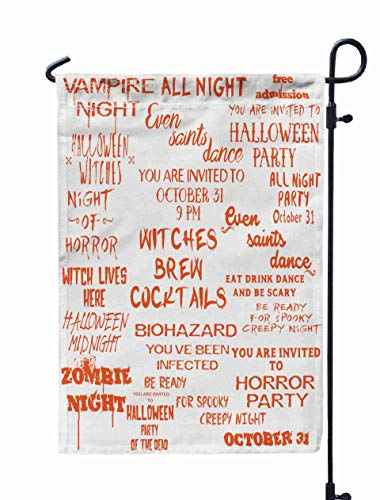 GROOTEY Thanksgiving Garden Flag,Home Yard Decorative 12X18 Inches Halloween Lettering Overlay Set Scary Spooky Holiday Typography Calligraphy Photo Graphic Double Sided Seasonal Garden Flags]()