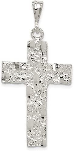 925 Sterling Silver Polished Sparkle-Cut Textured back Cross Pendant