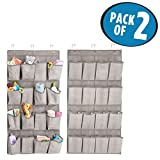 mDesign Soft Fabric Over the Door Hanging Storage Organizer with 16 Deep Pockets for Child/Baby Room, Nursery, Playroom - Textured Print - Metal Hooks Included - Pack of 2, Linen