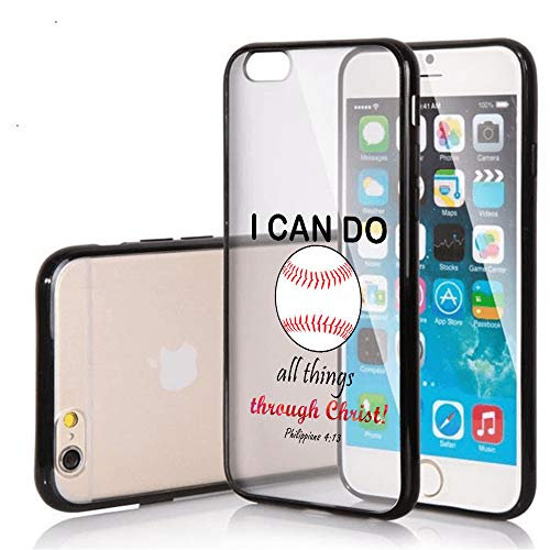 SunCases Soft TPU Bumper Case for iPhone 7 / iPhone 8 - Baseball I Can do All Things Through Hard Clear Transparent Anti Scratch Resistance with Full Protection Cover ()