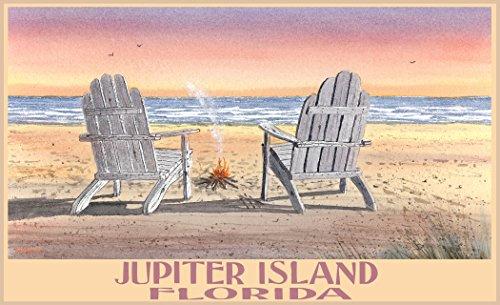 Northwest Art Mall BA-5625 ACB Jupiter Island Florida Adirondack Chairs Beach Print by Artist Dave Bartholet, 11
