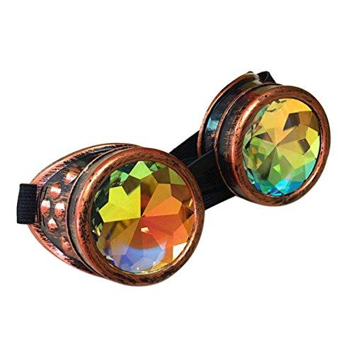 caleidoscopio Gafas moda sol Cobre redondas de de Steampunk lujo rojo traje Gafas de Gafas de Rvww5p