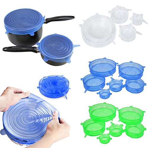 6PCS/Set Universal Silicone Lids Stretch Suction Cover Cooking Pot Pan Spill Lid Stopper Home Bowl Kangsanli (yellow)