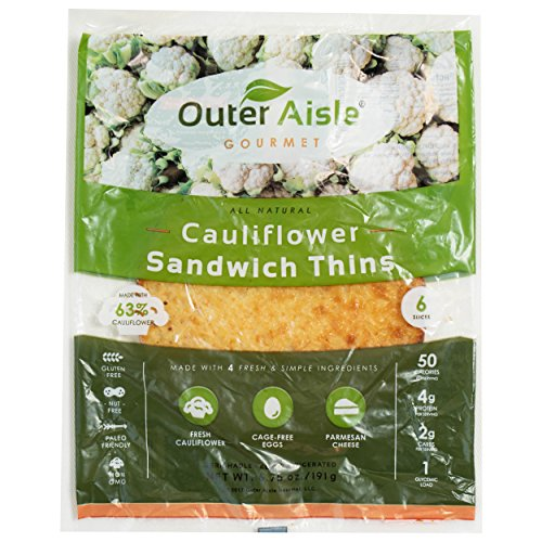 Outer Aisle Gourmet – (24 pieces) Cauliflower Sandwich Thins – Low Carb, Gluten Free, Paleo Friendly, Keto – 4 Pack (24 Pieces) Review