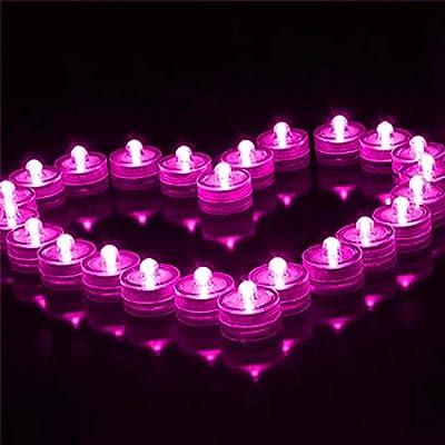 DoDoLightness 24pcs Flower Shape Romantic Waterproof Submersible LED Tea Light Electronic Candle Light for Wedding Party Valentine Decoration