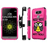 LG G5 Armor Case [SlickCandy] [Black/ Hot Pink] Heavy Duty Defender [Holster] [Kick Stand] Phone Case - [Hoo is There Owl] for LG G5
