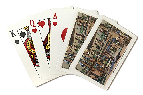 - Glacier National Park, Montana - Interior View of the Lake McDonald Hotel Lobby (Playing Card Deck - 52 Card Poker Size with Jokers)