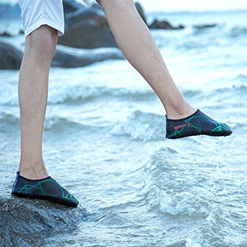 SAGUARO® Skin Shoes descalzo acuático Aqua calcetines para de nadada de la playa de la resaca de la yoga Negro 2