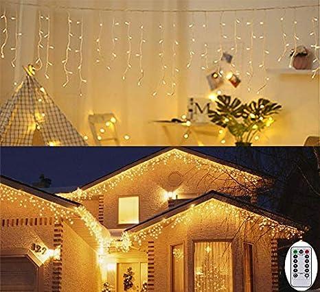 3m Luz Carámbano Cortina De Luces De Pilas Luces De Navidad Al Aire Libre Blanco Cálido Luz Para Decoración Fiesta Bodas Foldervannoc