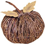 Darice Twig Pumpkin with Metal Leaves, 10-Inch, Natural