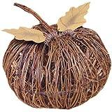 Darice Twig Pumpkin with Metal Leaves, 10-Inch, Natural