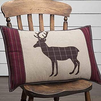 VHC Brands Rustic Lodge Pillows Throws – Wyatt Tan Applique Deer 14 x 22 Pillow, Brown