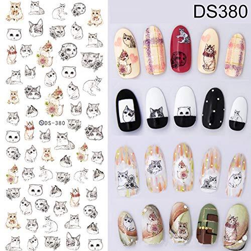 YuYe Water Transfer Nail Art Sticker Harajuku Element Moon Cat Skull Nail Decal Decor - DS380