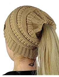 HMILYDYK Women Cable Knit Beanie Tail Hats Soft Stretch Ponytail Messy Bun Head Wrap Cap for Winter Autumn