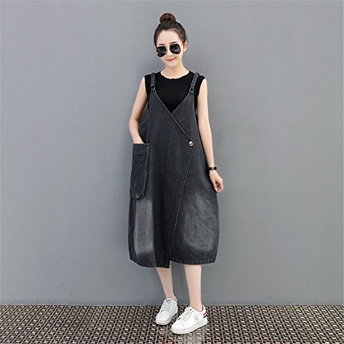 Available Women Casual Overall Drasawee Black Dress Loose Plus Pocket Suspender Denim Size Big Panqpdw