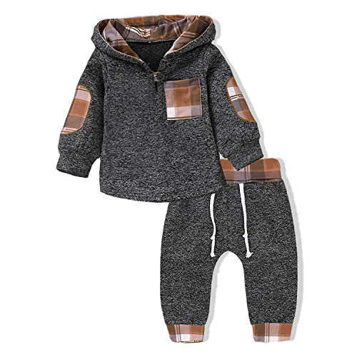GObabyGO Infant Toddler Boys Girls Sweatshirt Set Winter Fall Clothes Outfit 0-3 Years Old,Baby Plaid Hooded Tops Pants (Khaki Plaid, 6-12 Months)