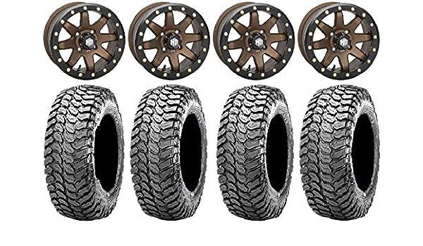 9 Items STI HD A1 Beadlock 15 Wheels Black 32 X COMP Tires 4x156 Bolt Pattern 12mmx1.25 Lug kit Bundle