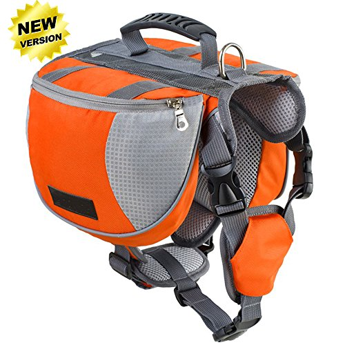 Lifeunion Adjustable Service Dog Supply Backpack Saddle Bag for Camping Hiking Training (Orange, L)